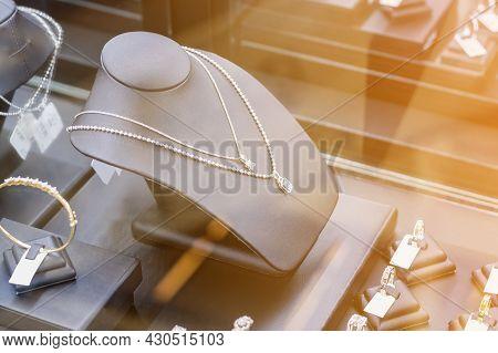 Jewelry Diamond Necklace Show In Jewelry Store Window Display