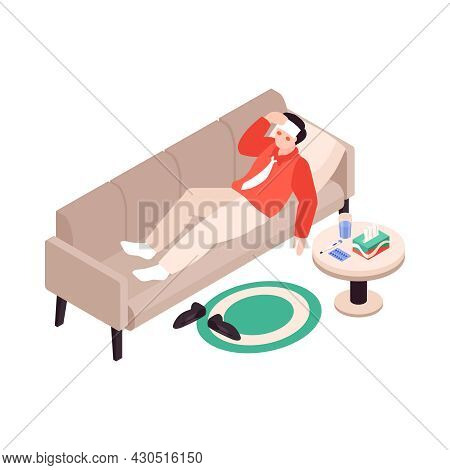 Isometric Cold Flu Virus Sick People Composition With Male Character Of Sick Person Lying On Sofa Ve