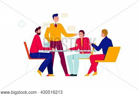 Office People Composition With Group Of Coworkers Discussing New Ideas With Chat Bubbles Vector Illu