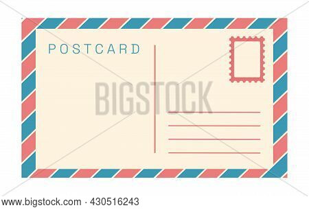 Vector Vintage Postcard Template Isolated On White Background. Empty Old Fashioned Retro Post Card.