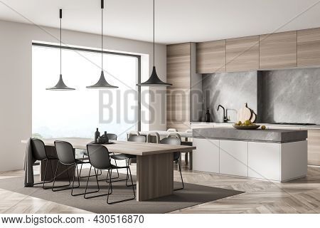 Corner View On Kitchen Room Interior With Dining Table, Twelve Chairs, Wooden Parquet Floor And Pano