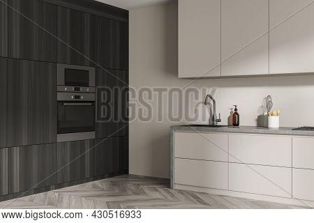 Corner Of The Kitchen Interior With Modern Design Concept, Using Built In Dark Wooden Area, Beige Mo