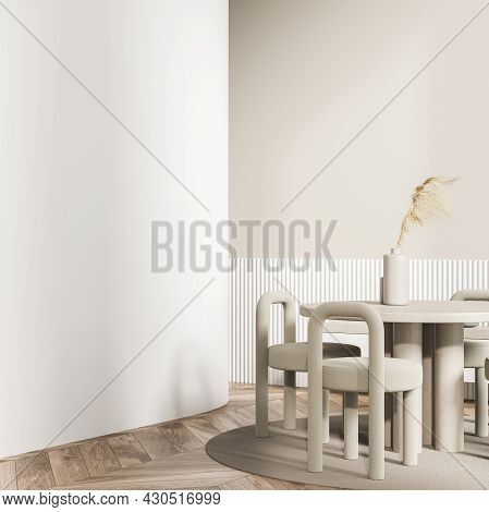 Beige Design Of The Living Room Interior With An Empty Wall Partition, A Passage, A Round Table With
