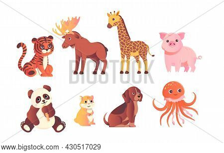 Wild Baby Animals Set. Cute Characters Inhabitants Of Forests, Jungles And Savannas. Stickers For Po