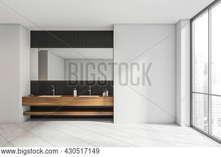 Stylish White Bathroom Interior With A Double Sink, A Panoramic Window, An Empty Wall, A Tiled Floor