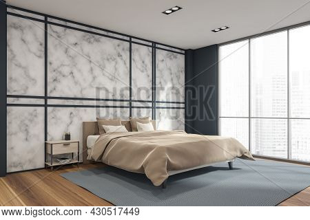 Panoramic Bedroom Interior With A Marble Wall Behind The Comfy Beige Bed With A Wooden Bedside Table