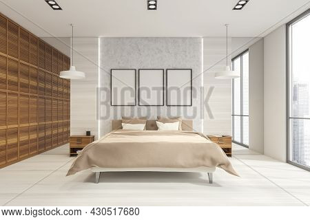 Three Posters In The White Wood Bedroom With Bright Wooden Details, Panoramic Windows, Two Pendant L
