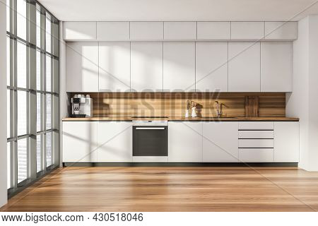 Kitchen Room Interior With Oak Wooden Floor, Electric Cooker, Panoramic Window With Singapore City S