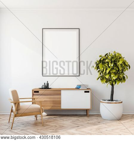 Living Room Interior With White Empty Poster, Comfortable Armchair, Books, Sideboard, Crockery, Hous