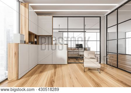 Office Interior With Framed Glass Partition Walls, Led Lights, Parquet, Corner Cabinet, Beige Armcha