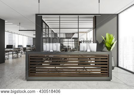 Panoramic Office Interior With Double Reception Desk, Having Wood Panels, Grey Walls, Framed Glass P