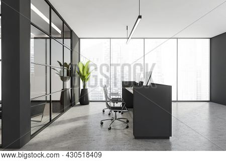 Side View Of The Double Reception Desk With Panoramic Background, Grey Interior Details, Trendy Ligh