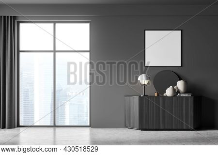 Dark Living Room Interior With White Empty Poster, Sideboard With Mirror, Panoramic Window With Sing