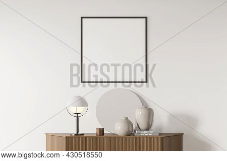 Bright Living Room Interior With White Empty Poster, Sideboard With Mirror, White Wall, Books, Crock