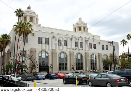 LOS ANGELES, CALIFORNIA - 18 AUG 2021: The Terminal Annex Building in Los Angeles, the central mail processing facility for Los Angeles, from 1940 to 1989.