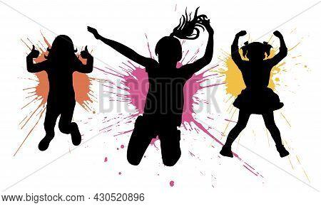 Silhouette Of Jumping Girls Children On Background Of Splash Blot. Vector Illustration