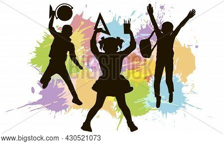 Silhouette Of Jumping School Children With Globe, Backpack, Ruler On Background Of Color Splash Blot