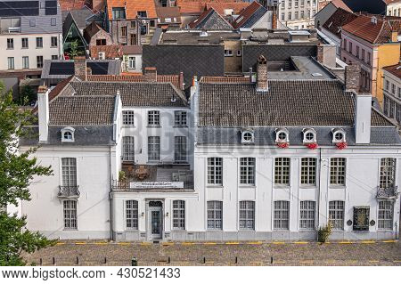Gent, Flanders, Belgium - July 30, 2021: Green Protest Banner On Large White House Just North Of Gra