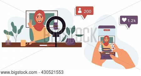 Muslim Woman Is Broadcasting Live On A Smartphone.popular Blogger Concept.vector Illustration Of Car