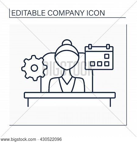Managing Director Line Icon. Person Responsible For Daily Operations Of Company, Organization, Or Co