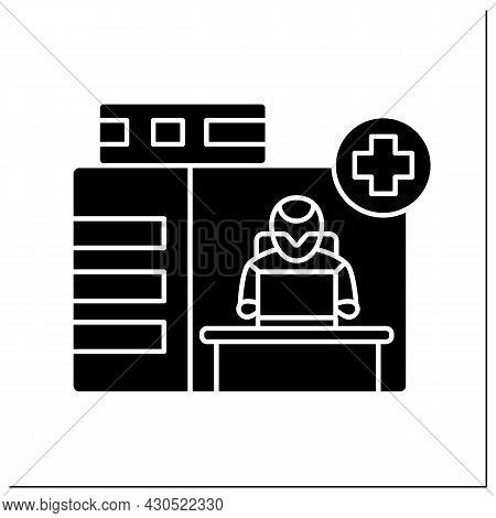 Ai In Medicine Glyph Icon. Emergency Service. Modern Technologies In Medical Sphere. Ai Diagnostic C