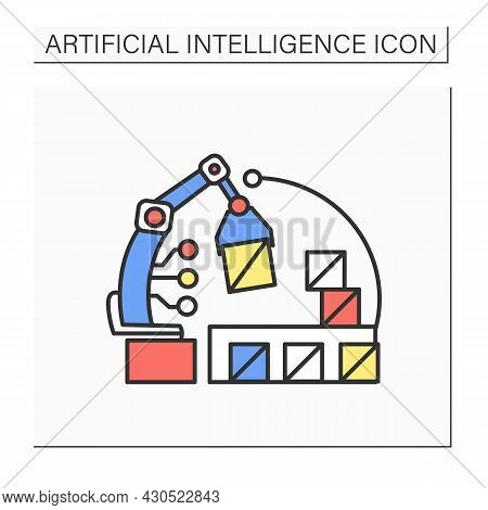 Ai In E-commerce Color Icon. Robot Handling Order Shipment And Storage.internet Retail Service Autom
