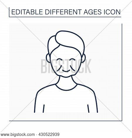 Late Adulthood Line Icon. Time Of Life. Different Ages Concept. Isolated Vector Illustration. Editab