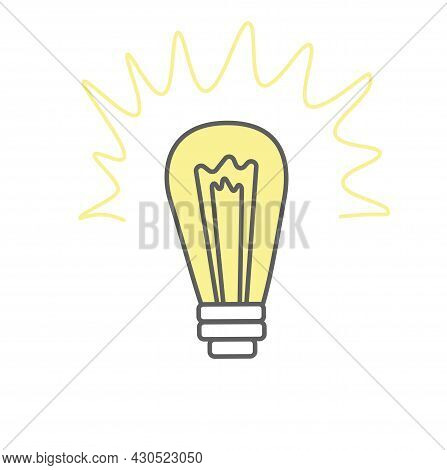 Ideas Symbol Vector Stock Illustration. The Light Bulb Is Full Of Ideas And Creative Thinking, Analy
