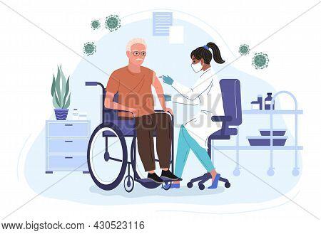 Female Doctor Injecting Coronavirus Vaccine To An Elderly Patient In A Wheelchair. Hospital Cartoon