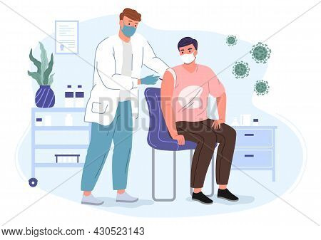 Male Doctor In A Mask And Gloves Makes An Injection Of A Vaccine To A Patient. Vaccination Concept V