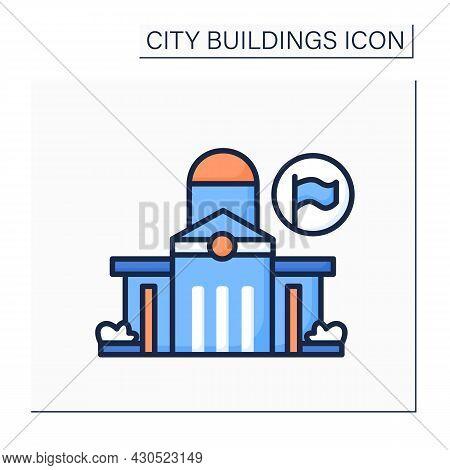 Public Office Color Icon. Classical Architecture Public Office Capitol Building. Local Authorities H