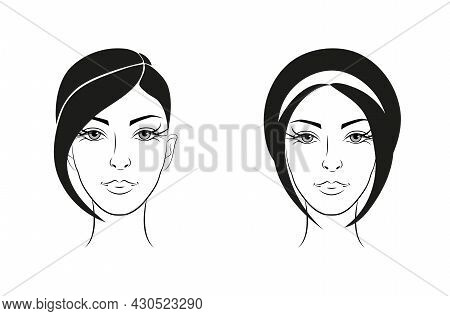 Head Of A Beautiful Girl With Hairstyles. Vector Monochrome Drawing. Hairdresser, Beauty Salon. For