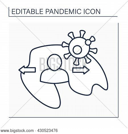 Community Spread Line Icon.virus Circulating In Community, And Can Infect People With No Contact Wit