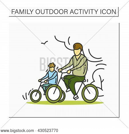 Riding Bike Family Color Icon.father And Son Cycling Together. Outdoors Family Activity Concept. Par