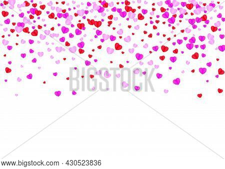 Red Confetti Background White Vector. Mother Pattern Heart. Pink Cut Texture. Tender Heart Fall Back