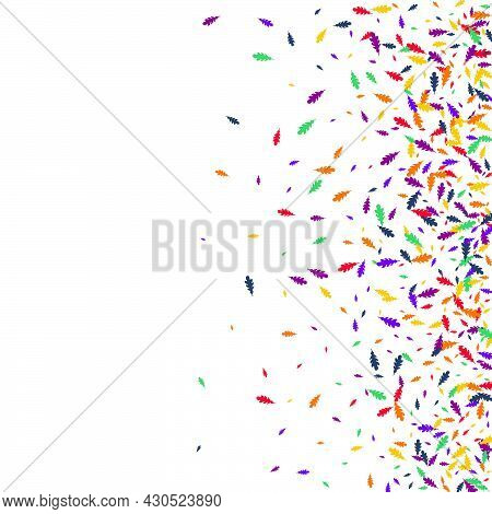 Red Foliage Vector White Background. Colorful Confetti September Texture. Scattered Leaf Design. Yel