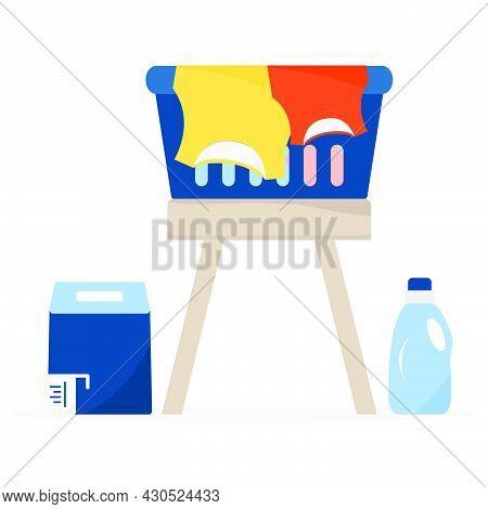Vector Illustration Laundry Washing Cleaning Service Laundry Basket, Washing Powder, Detergents, Lin