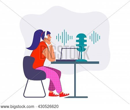 Podcast Concept Vector Illustration Young Female Listening To Podcasting Sitting At Table With Headp