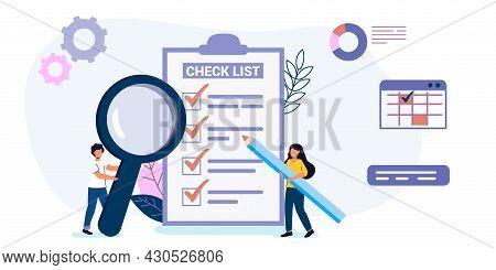 Checklist Or Habit Tracker Tiny People Fill Out A Form Concept Done Job Check List With Tick Mark Lo