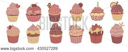 Set Of Cute Little Cupcakes With Cream And Berries. Delicious Desert With Different Decor. Brown Pas
