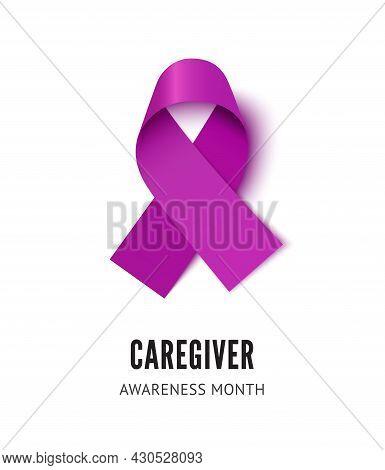 Caregiver Awareness Ribbon Vector Illustration Isolated On White Background