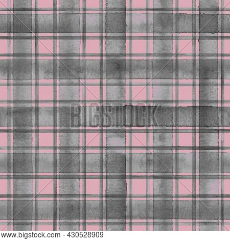 Watercolor Grunge Shabby Chic Stripe Plaid Seamless Pattern. Grey Stripes On Pink Background. Waterc