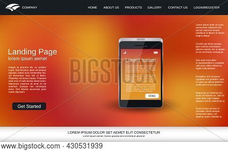 Website Landing Page Vector Template. Abstract Vector Background With Smartphone Realistic Icon For