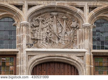 Gent, Flanders, Belgium - July 30, 2021: Closeup Of Fresco Showing Large Medieval Sailing Ship Above