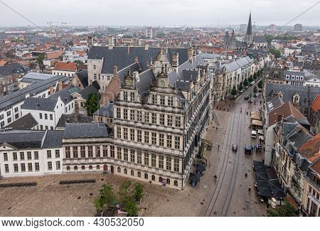 Gent, Flanders, Belgium - July 30, 2021: Historic Medieval City Hall Building Down From The Belfry W