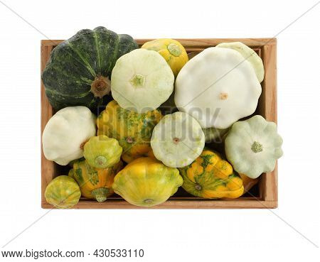 Fresh Ripe Pattypan Squashes In Wooden Crate On White Background, Top View