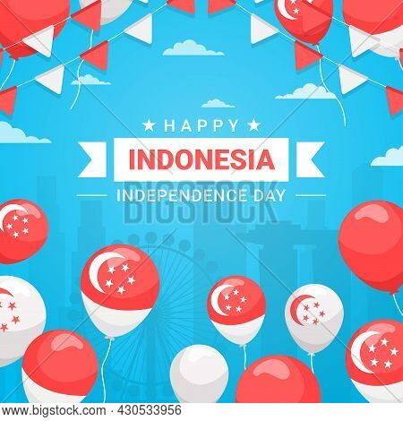 Spirit Of Indonesian Independence Day. 17 August, Carrying Flags Celebrating Independence Day By Car