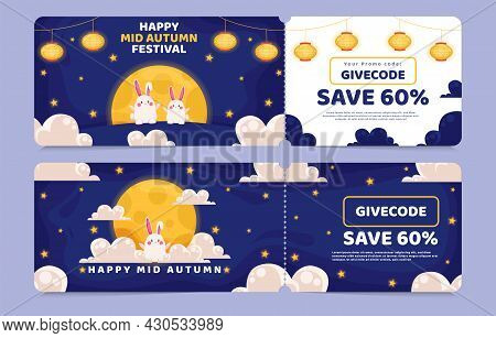 Voucher Discount Sale Cute Rabbit Couple Enjoying Beautiful Moon Scene With Festive Lanterns, Transl