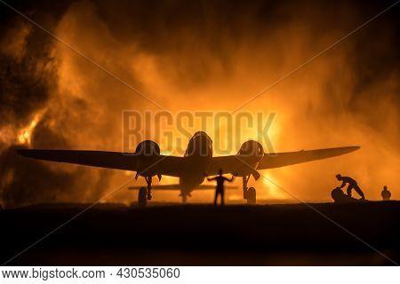 German Junker (ju-88) Night Bomber At Night. Artwork Decoration With Scale Model Of Jet-propelled Pl