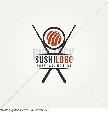 Sushi And Rolls Japanese Food With Chopstick Minimalist Logo Template Vector Illustration Design. Fl
